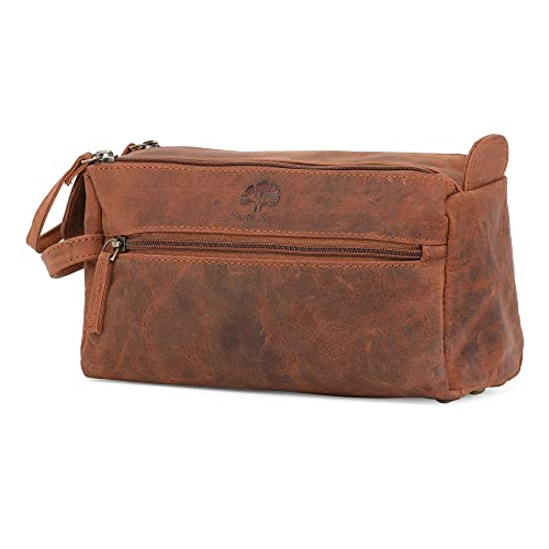 Leather Wash Bag for Men - Handcrafted Toiletry Bag for all your Travel  Toiletries (Brown e25232f8fc1a6