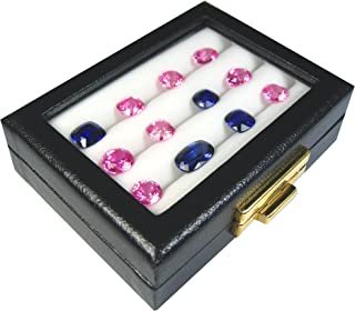 GOLbox A TOP Glass Display Box Show CASE Gemstone GEM with 3 Rows Cushion Place 4x3x1.1 INCH