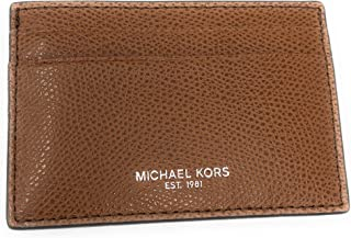 Michael Kors Men's Warren Leather Card Case Money Clip Mini Wallet Luggage