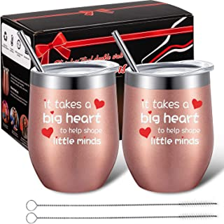 2 Pack Funny Teacher Appreciation Gifts, It Takes a Big Heart to Shape Little Minds, 12oz Double Wall Vacuum Teacher Cup with Lid and Straw, Wine Glasses Tumbler with Gift Box for Teacher (Rose gold)
