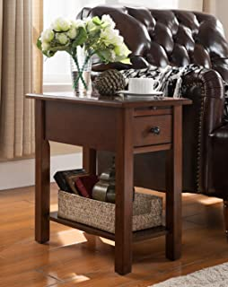 Sutton Side Table with Charging Station in Espresso