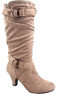 Forever Link Maggie-38 Women's Fashion Faux Suede Low Heel Zipper Slouchy Mid-Calf Boots Shoes (7.5 B(M) US, Taupe)