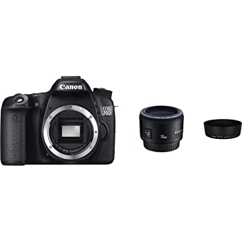 Canon EOS 70D mit EF 50mm f/1.8 II und Gegenlichtblende ES-62 W Kamera (20,2 MPCMOS-Sensor, 19 AF-Kreuzsensoren) schwarz