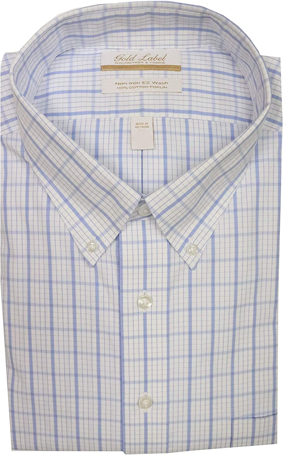Gold Label Roundtree & Yorke Non-Iron Regular Button Down Checked Dress Shirt G16A0039 Blue Multi