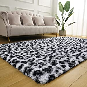 BENRON Fluffy Leopard Area Rug, 3x5 Feet Leopard Print Rugs for Bedroom Living Room Western Decor, Shaggy Black and White Animal Carpets for Kids Girls Nursery, Black and White