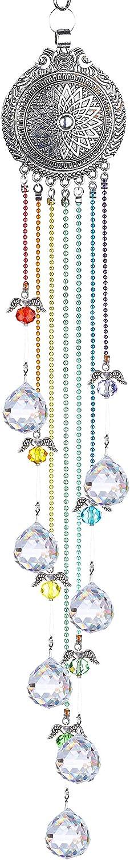 YU FENG Hanging Crystals Suncatcher Ornament Guardian Angel Lotus Decor Rainbow Maker Chakra Beads Prisms Pendant for Window Garden Chandelier Decoration