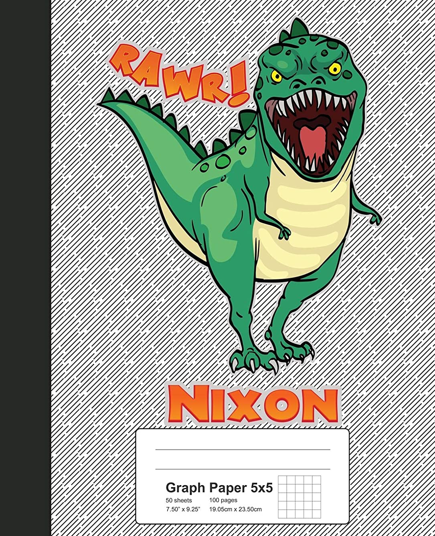 Graph Paper 5x5: NIXON Dinosaur Rawr T-Rex Notebook (Weezag Graph Paper 5x5 Notebook)