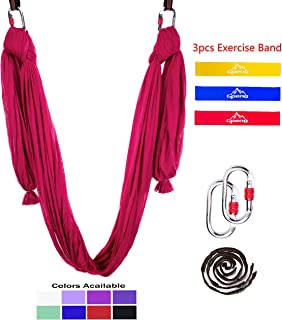 Gpeng Aerial Yoga Hammock 5.5 Yards Premium Aerial Silk Fabric Yoga Swing for Antigravity Yoga Inversion Include Daisy Chain,Carabiner and Pose Guide