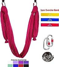 Gpeng 8 Pcs Yoga Swing Set - Premium Aerial Silk Hammock for Antigravity, Inversion Exercises, Improved Flexibility & Core Strength