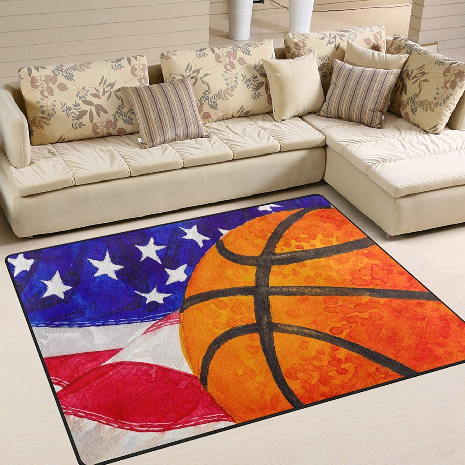 ALAZA Basketball on American マート Flag Sport Area Rugs Living 70%OFFアウトレット Rug for