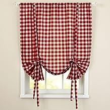 "Sweet Home Collection Kitchen Window Curtain Panel Treatment Decorative Buffalo Check Design, 63"", Burgundy"