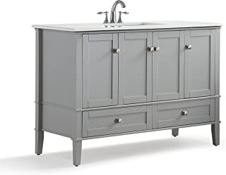 Simpli Home HHV029GR-48 Chelsea 48 inch Contemporary Bath Vanity in Warm Grey with White Engineered Quartz Marble Top
