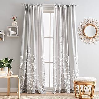 "Peri Home Semi-Sheer Chenille Rose Rod Pocket Window Curtain Panel Pair, 84"", Silver"