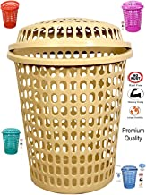 mastBus Laundry Basket with Cap, Durable (Unbreakable) 50L with 6 Months Warranty (Cream)