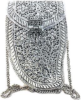 Trend Overseas Women festive gift Silver Brass Metal bag Bridal Clutch Girls Party Purse