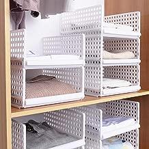 Like-very Juego de 4 Cajas de Almacenamiento apilables para Armario, de plástico, Color Blanco, para armarios, armarios, armarios, armarios, etc. Aptas para el hogar, Dormitorio, Cocina