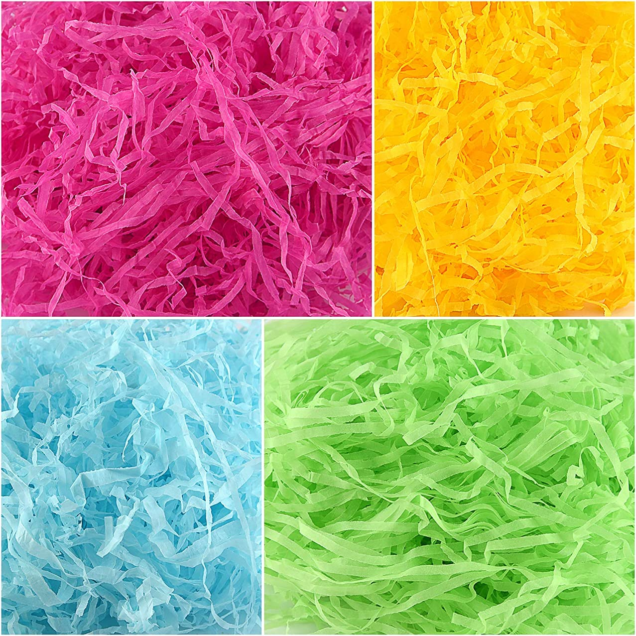 TUPARKA 250g Easter Paper Grass,Easter Basket Grass for Egg Stuffers,Shredded Tissue Craft for Easter Day Decoration Supplies (Pink,Blue,Yellow,Green)