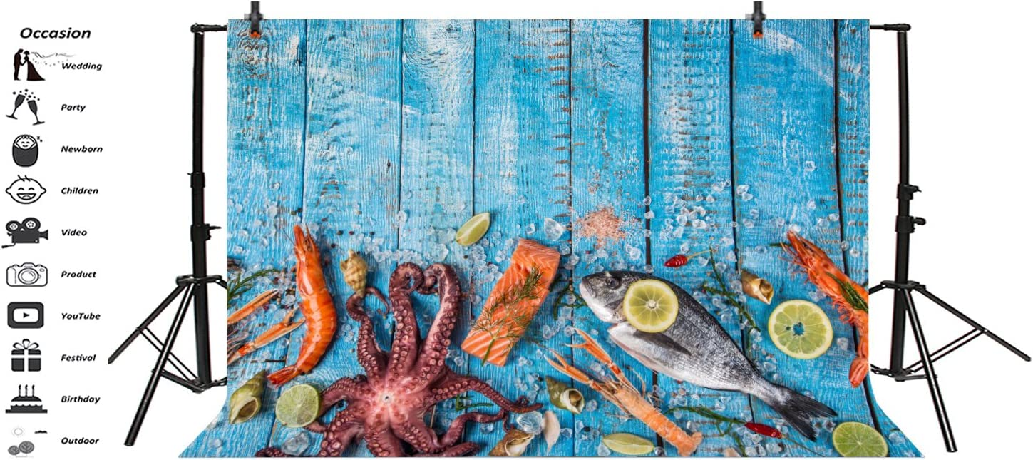 Yeele 6x4ft Blue Wood Board and Seafood Backdrop Salmon Sashimi Squid Photography Background for Picture Party Banner Decoration Adult Portrait Photo Booth Video Shooting Vinyl Drape Studio Props