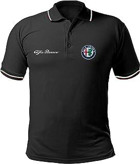 Polo Camiseta Estilo Alfa Romeo Mito Giulietta Giulia Stelvio Coche Rally Racing T-Shirt Hombre Personalizado Negro ALP06