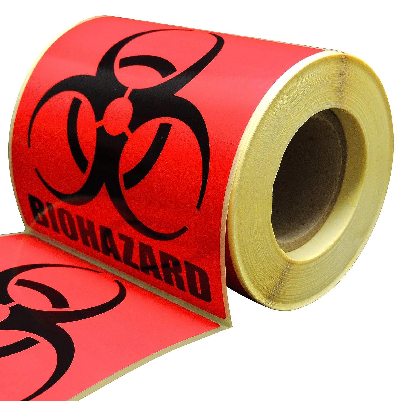 Biohazard Warnung Aufkleber Beschichtetes Papier Bright Orange Mit International Biohazard Symbol Permanent Selbstklebend 250 Pro Rolle 2x2 Gewerbe Industrie Wissenschaft