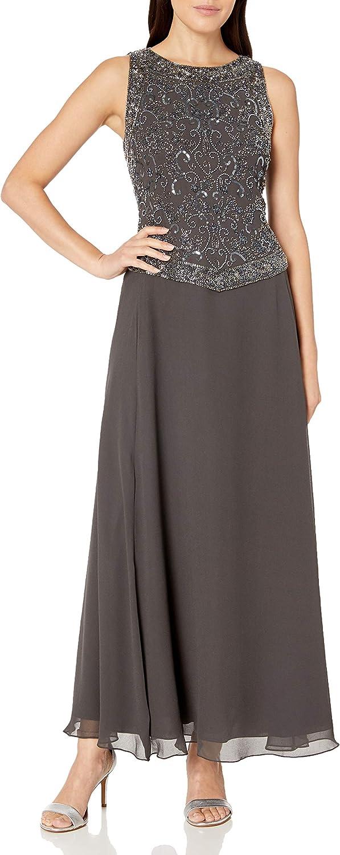 J Kara New sales Women's Petite Rapid rise Long Beaded with Scarf Trim Dress V Detail