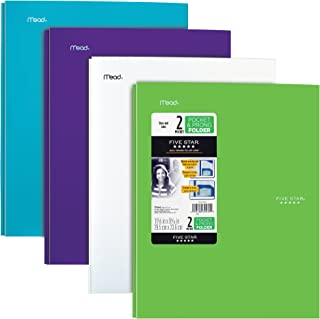 Five Star 2 Pocket Folders with Prong Fasteners, Stay-Put Folder, Folders with Pockets, Plastic, Teal, White, Purple, Lime, 4 Pack (38064)