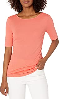 Three Dots Women's Short Sleeve Boatneck Tee with V Back, Grapefruit, Small