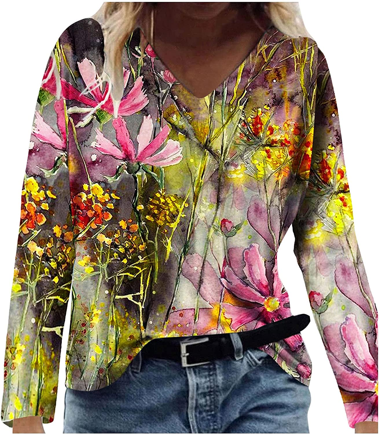 Goddessvan Tops for Women Casual Loose T Max 47% OFF Sleeves Shirts Selling rankings V-N Long