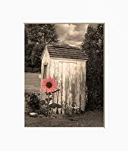 Sunflower Farmhouse Vintage Outhouse Coral Brown Bathroom Home Decor Wall Art Photography Matted Picture