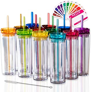 SKINNY TUMBLERS 12 Colored Acrylic Tumblers with Lids and Straws   Skinny, 16oz Double Wall Clear Plastic Tumblers With FR...