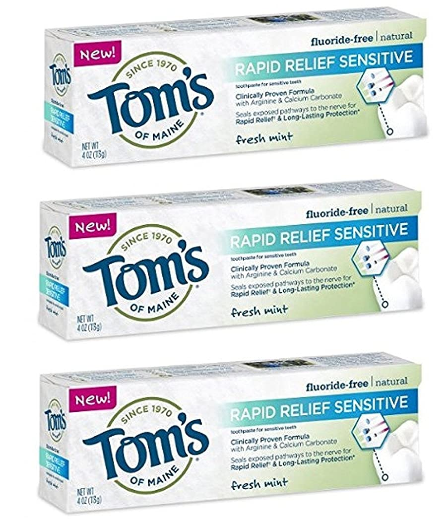 バック七時半花瓶Tom's of Maine Rapid Relief Sensitive Natural Toothpaste 4 oz Fresh Mint by KT Travel