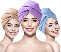 INNELO 3 Pack Microfiber Hair Towel Wrap for Women, Hair Drying Towels Turban with Buttons, Super Anti Frizz Absorbent & S...
