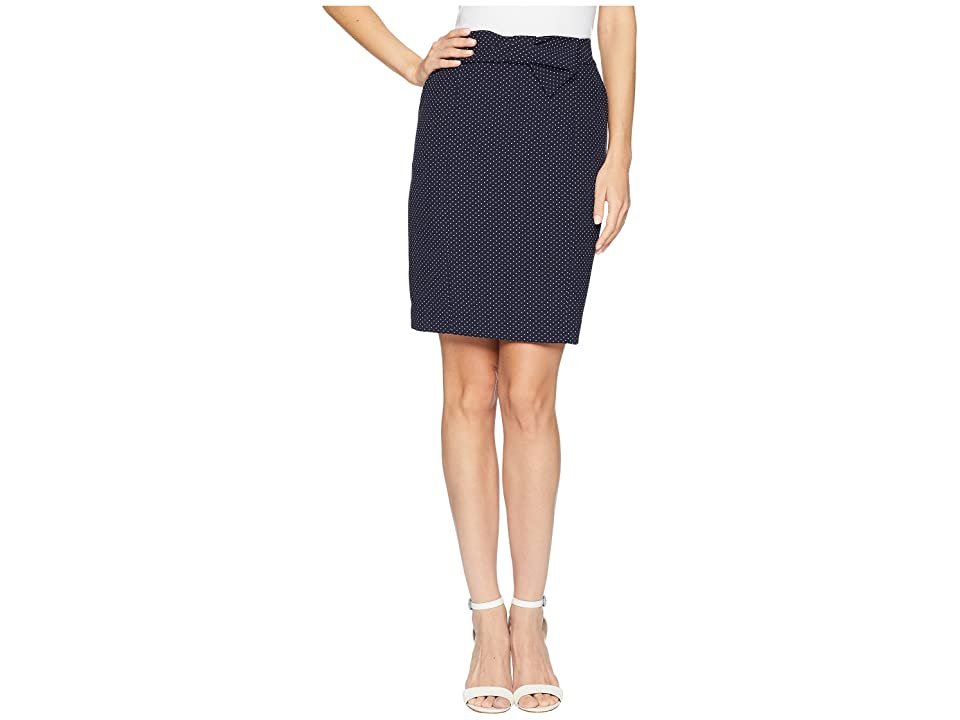 Anne Klein Bow Pencil Skirt (Eclipse/White) Women