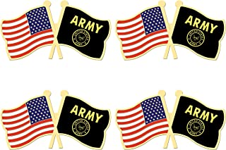 ALEY 4 Pack US Army Gold Crest Flag Pin Small Mini United States Military Flags Lapel Pins,Decorations Supplies for Army Party Events Celebration