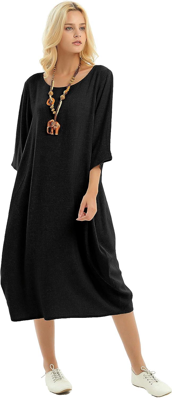 Anysize Lantern Style Linen Cotton 激安超特価 Summer トラスト Slit Back Plus S Dress
