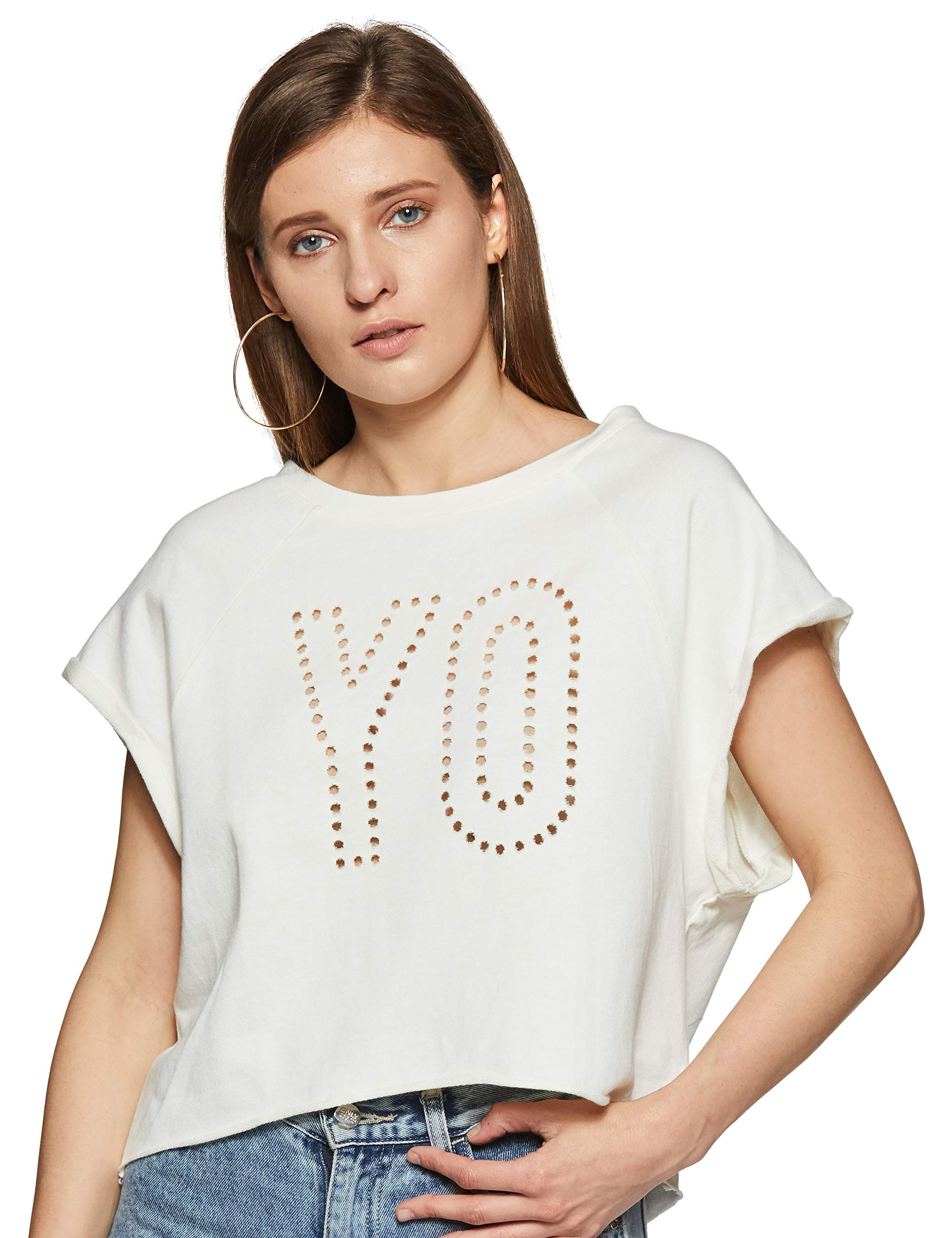 Reebok Damen Yoga French Terry T-Shirt Weiß, S