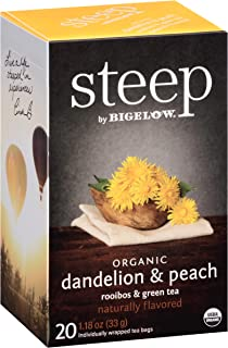 Steep by Bigelow Organic Dandelion and Peach with Rooibos and Green Tea 20 Count (Pack of 6), Organic Caffeinated Individual Tea Bags, for Hot Tea or Iced Tea, Drink Plain or Sweetened with Honey