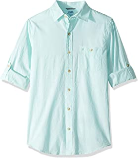 Men's Slim Fit Saltwater Dockside Chambray Long Sleeve Button Down Solid Shirt