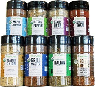 FreshJax Premium Gourmet Spices and Seasonings, Organic Grill Lover's Essentials Gift Set Large (8 pack)