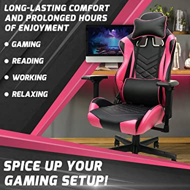 Pink Gaming Chair - Adjustable Ergonomic Pink Chair with PU Leather, Lumbar Support & 180° Recline, Easy to Assemble &amp