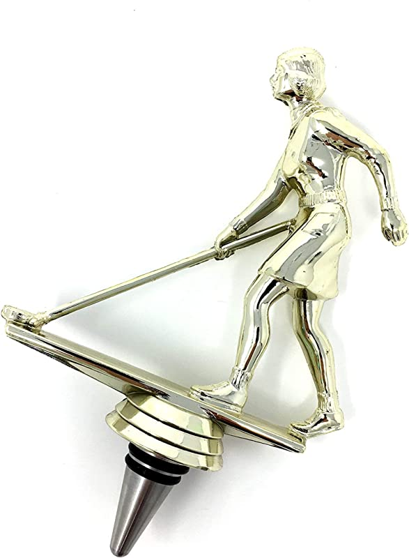 Shuffleboard Wine Bottle Stopper Handmade With Stainless Steel Base And Repurposed Trophy Top