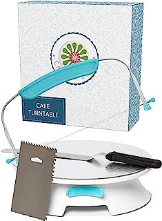 ForeverSmooth Cake Turntable Stand- Sturdiest Rotating Cake Leveler & Slicer. Decorating Supplies Kit w/offset spatula set...