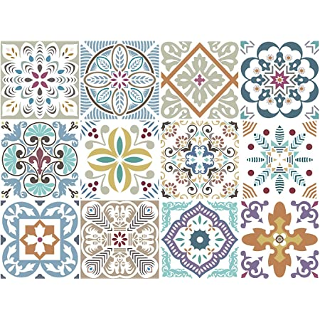 Blumen Decorative Tile Stickers Set 12 Units 6x6 inches. Peel & Stick Vinyl Adhesive Paper Tiles. Backsplash. Staircase. Home Decor. Furniture Decor. Easy to Install DIY.