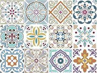 BRIKETO Blumen Decorative Tile Stickers Set 12 Units 6x6 inches. Peel & Stick Vinyl Adhesive Tiles. Backsplash. StaircaseHome Decor. Furniture Decor. Easy to Install DIY.