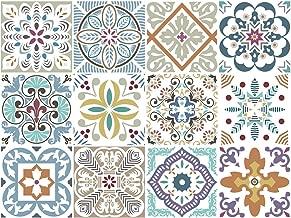 BRIKETO Blumen Decorative Tile Stickers Set 12 Units 6x6 inches. Peel & Stick Vinyl Adhesive Tiles. Backsplash. StaircaseHome Decor. Furniture Decor. Easy to Install DIY.