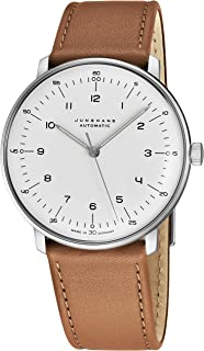 Junghans Max Bill Automatic Mens Watch - 38mm Analog White Face Classic Watch with Luminous Hands - Stainless Steel Brown Leather Band Luxury Watch for Men Made in Germany 027/3502.00