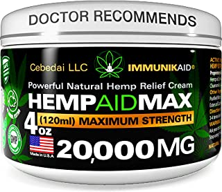 Premium 20000Mg Hemp Cream for Pain Relief - 4oz Pure Hemp Oil Extract - Made in USA - Extra Strength Natural Massage Lotion for Joint, Muscle, Knee, Back, Neck Inflammation - Topical Salve Balm
