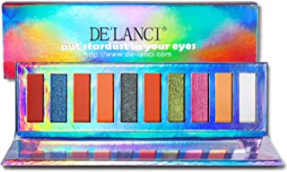 DE'LANCI Duo Chrome Eyeshadows Palette in Protable Size - 5 Matte +3 Bright Shimmer + 2 Chrome Eyeshadow- Highly Pigmented Eye Shadows Powder Makeup Set with Mirror