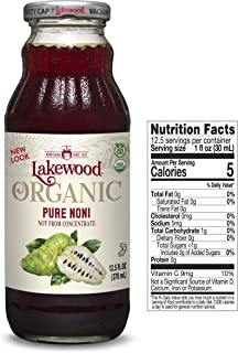 Lakewood Organic Pure Noni Juice, 12.5 Ounce (Pack of 6)