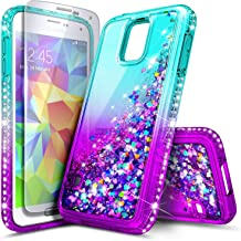 Galaxy S5 Case with Tempered Glass Screen Protector for Girls Women Kids, NageBee Glitter Liquid Sparkle Bling Floating Waterfall Shockproof Durable Cute Case for Samsung Galaxy S5 -Aqua/Purple
